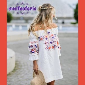 Free People Off Shoulder Embroidered Tunic Dress